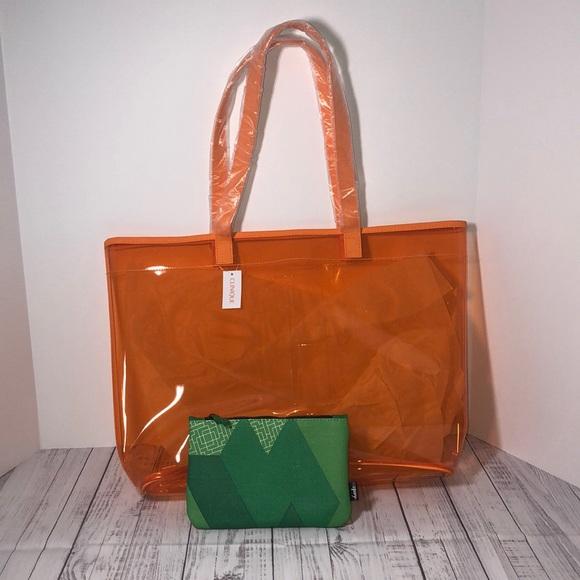 Clinique Handbags - Set of 2 Travel Bags/Tote Both New Orange & Green